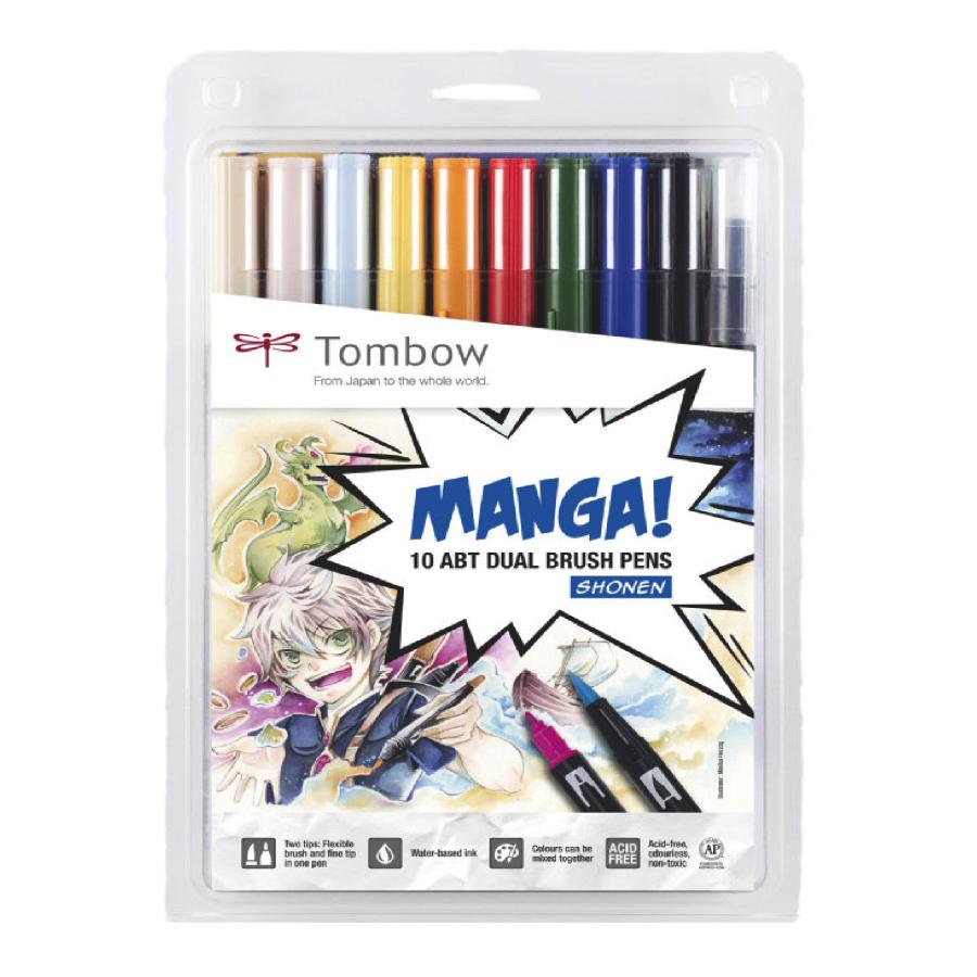 Tombow - Dual Brush Pen 10er Set Manga Shonen