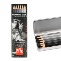 Caran d'Ache - Graphit Line Metallschachtel Grafwood 6er Box