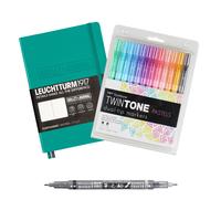 MeinStift - Bullet Journal Einsteiger Set mit Buch und Stiften - Smaragd