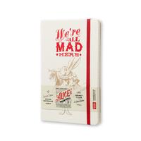 Moleskine - Alice im Wunderland Notizbuch (liniert, weiss)